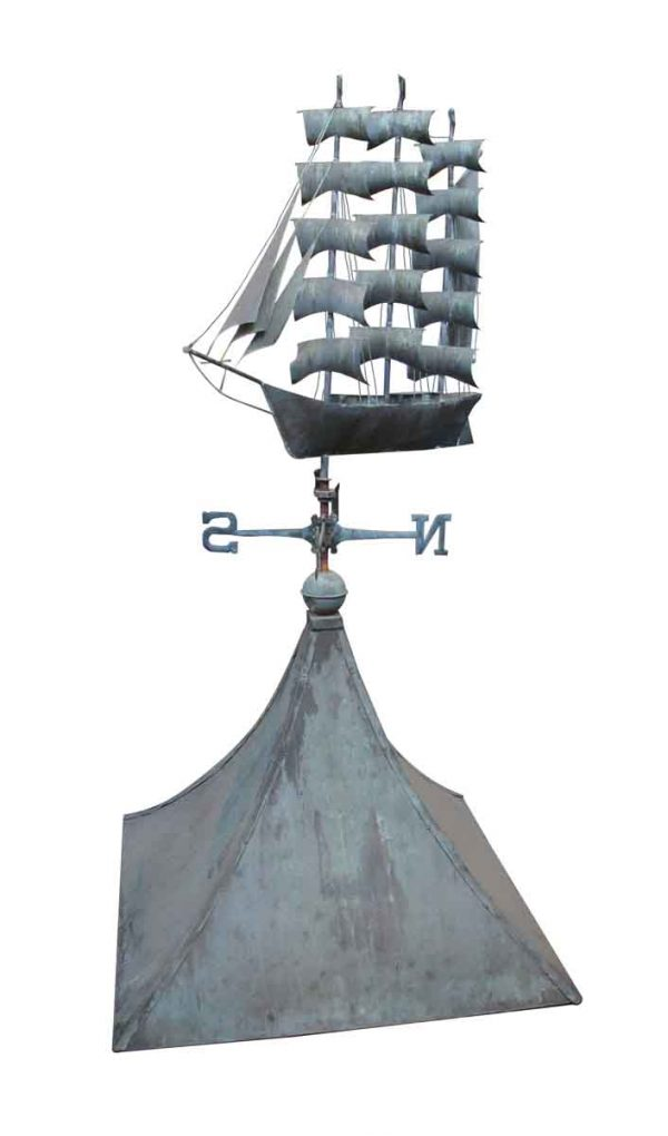 Exterior Materials - Copper Cupola with Sail Boat Ship Weathervane