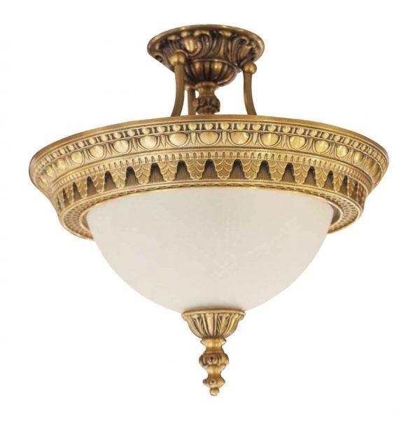Flush & Semi Flush Mounts - Palace Theater Semi Flush Mount Cast Bronze & Glass Light