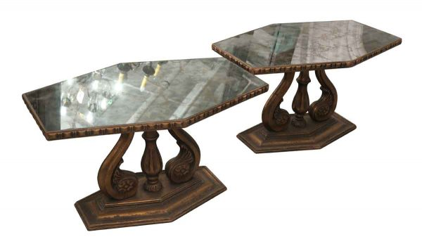 Living Room - Pair of Italian Mirror Topped Wood Side Tables
