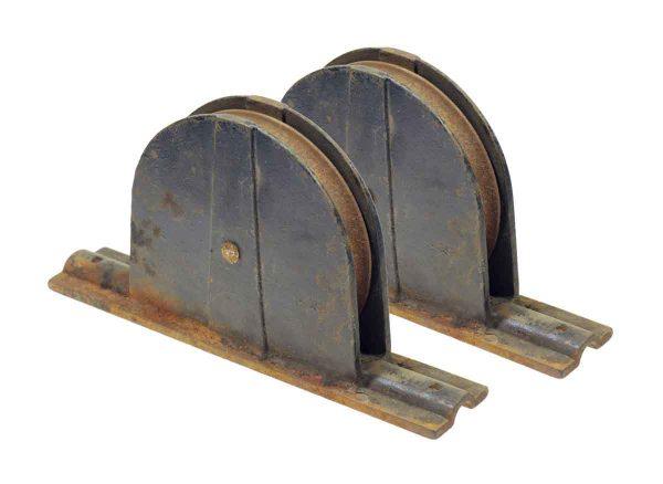 Pocket Door Hardware - Pair of Antique Iron Pocket Door Wheels