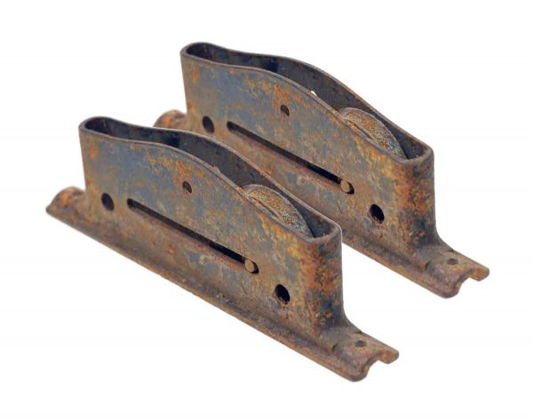 Pocket Door Hardware - Pair of Antique Rusted Iron Pocket Door Wheels