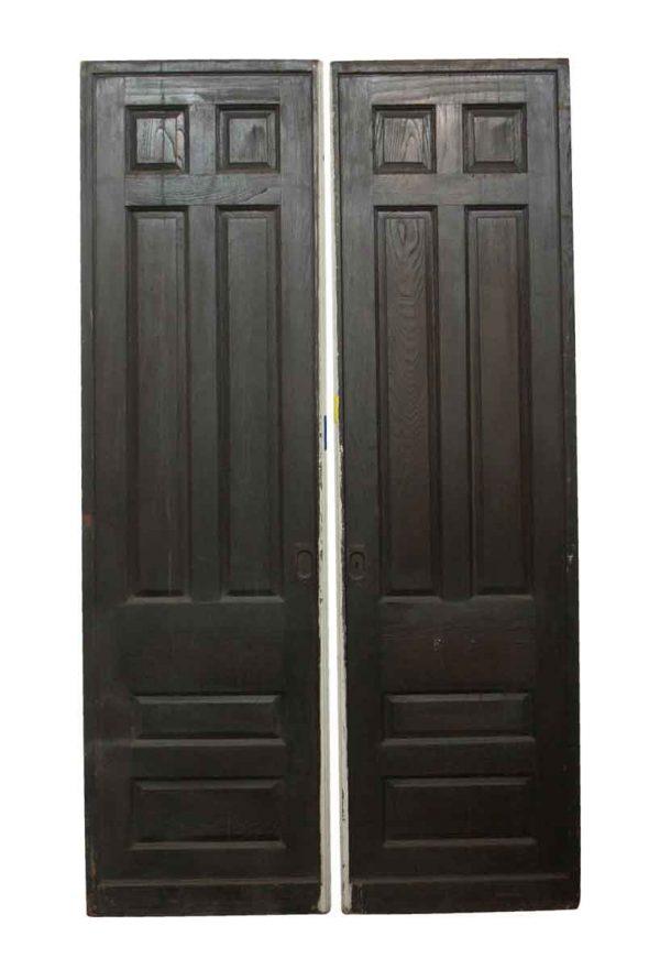 Pocket Doors - Pair of Brown & Tan Six Panel Pocket Doors
