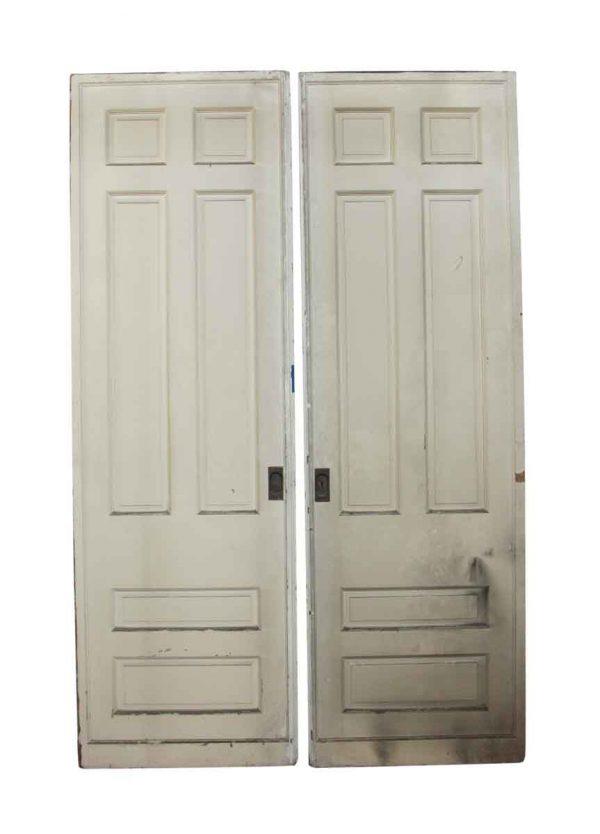 Pocket Doors - Pair of Six Panel White Pocket Wooden Doors