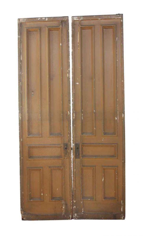 Pocket Doors - Pair of Tan Painted Wood Pocket Doors