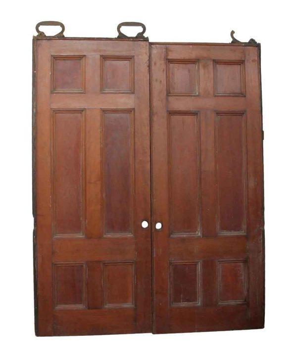 Pocket Doors - Pair of Wooden 6 Panel Pocket Doors