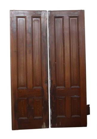 Pair Of Wooden Vertical Panel Pocket Doors