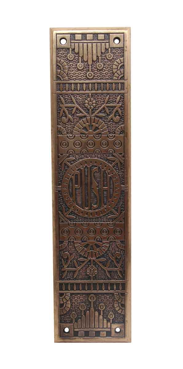Push Plates - 1800's Polished Bronze Eastlake Door Push Plate