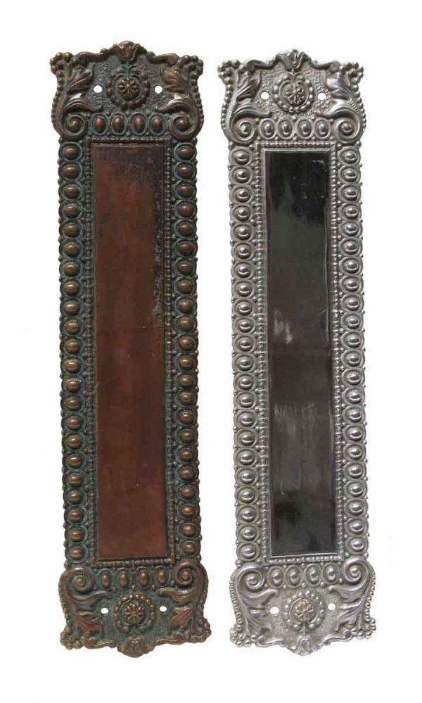 Push Plates - Pair of Bronze Normandy Door Push Plates