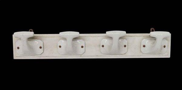 Racks - Imported White 4 Ceramic Hooks on Wood Plank