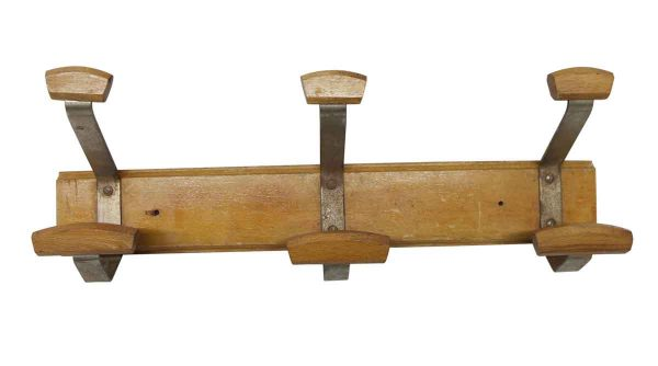 Racks - Vintage European Metal & Wood Triple Hook Rack