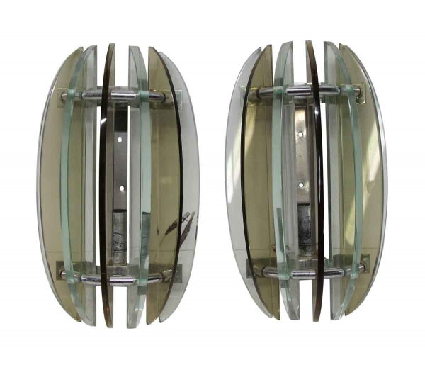 Sconces & Wall Lighting - Pair of European 1970s Glass Sconces