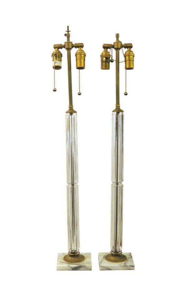 Table Lamps - Pair of Modern Glass Column Lamps