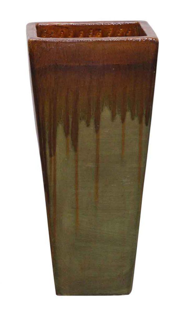 Vases & Urns - Green & Brown Tall Ceramic Vase