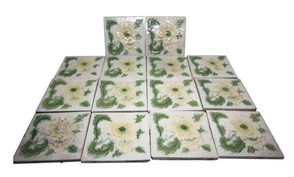 Wall Tiles - Antique Yellow & Green Floral Tile Set