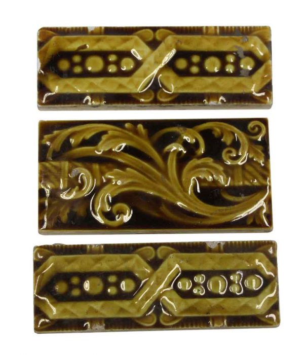 Wall Tiles - Set of 3 Yellow & Brown Floral Tiles