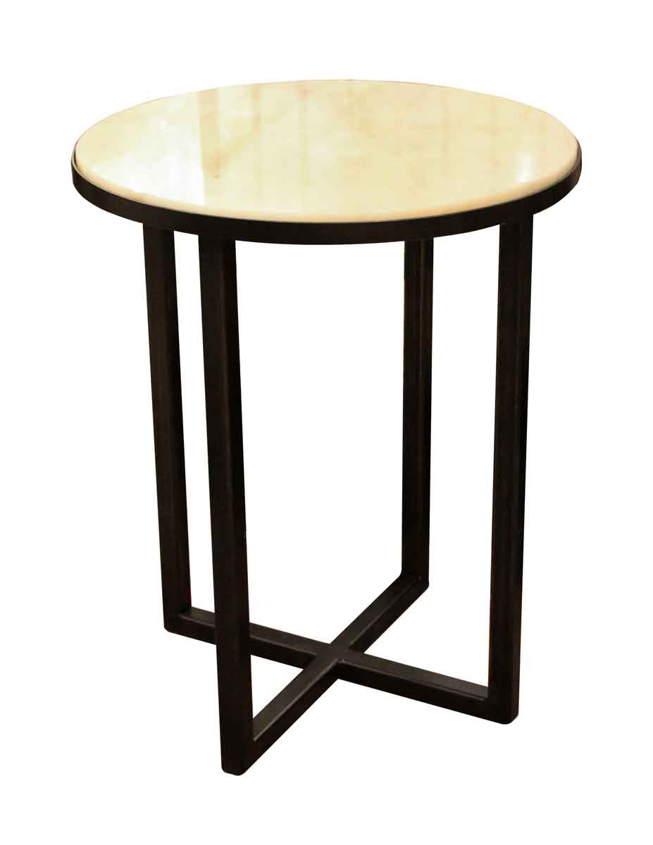 Small Round Steel Marble Side Table Olde Good Things