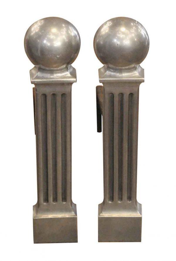 Andirons - Pair of Aluminum Art Deco Andirons