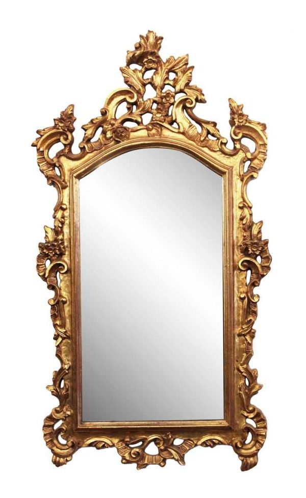 Antique Mirrors - Antique Gilt Wood 4 Foot French Wall Mirror