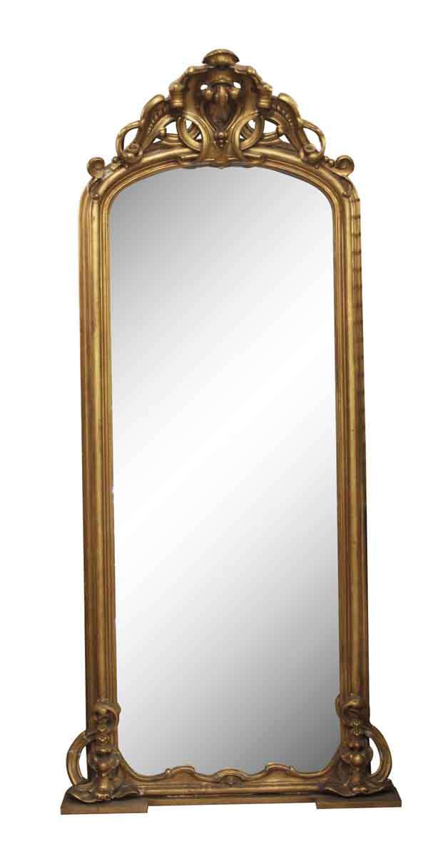 Entryway Gilt Wood Pier Mirror With Matching Marble Top