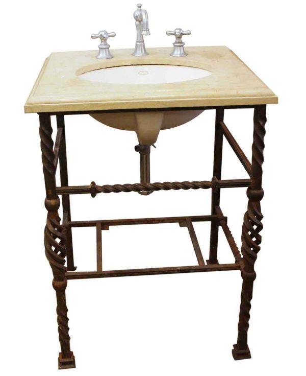 Bathroom - Kohler Marble Sink with Wrought Iron Base