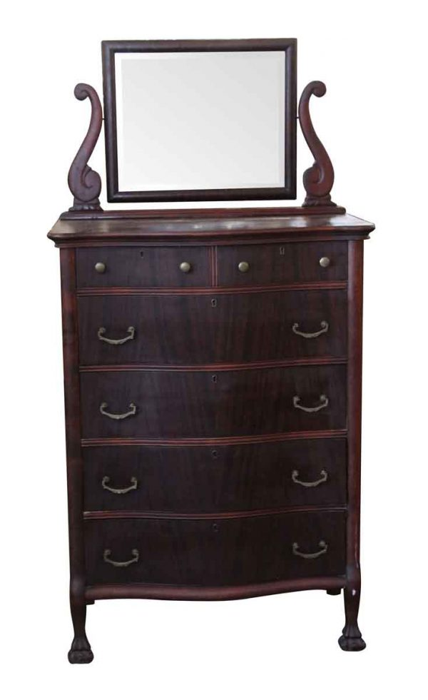 Bedroom - Antique Mahogany Dresser with Beveled Mirror