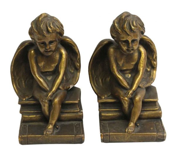 Book Ends - Vintage Plaster Angel Bookends