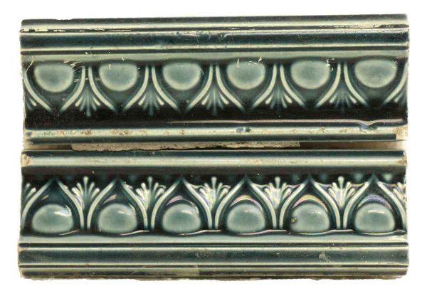 Bull Nose & Cap Tiles - Pair of Blue Antique Decorative Trim Tiles