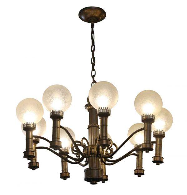 Chandeliers - Art Deco 9 Globe Brass Chandelier