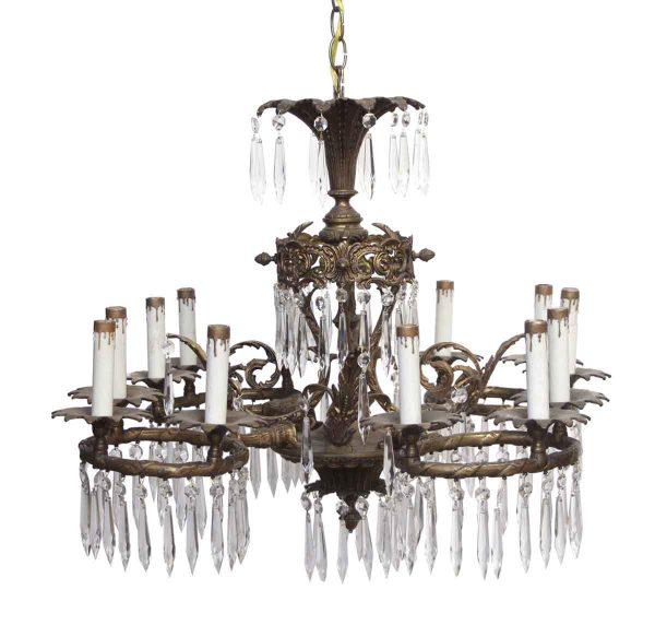 Chandeliers - Crystal & Bronze Twelve Light Chandelier
