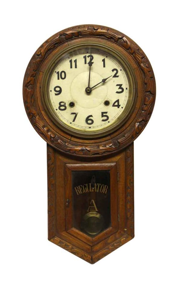 Clocks  - Carved Wooden Regulator Wall Clock
