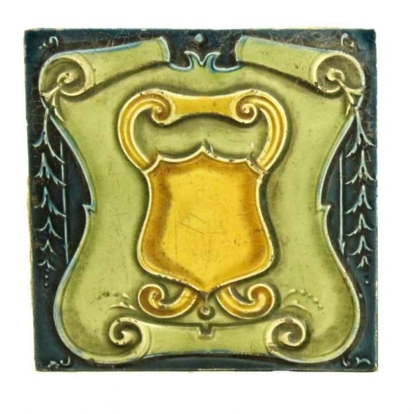 Collectors Tiles - Antique Colorful Raised Shield 6 in. Square Wall Tile