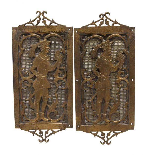 Decorative Metal - Pair of Antique Bronze Figural Plaques