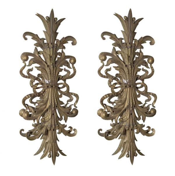 Decorative Metal - Pair of Bronze French Wall Art Decorations