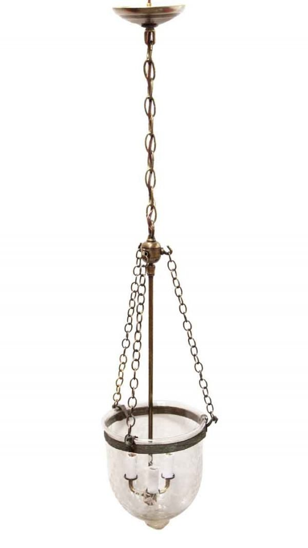 Down Lights - Clear Etched Bell Jar Crystal Pendant Light