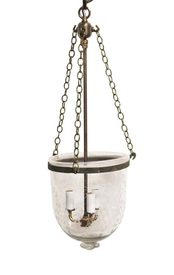 Down Lights - Crystal Bell Jar Light with Decorative Etching