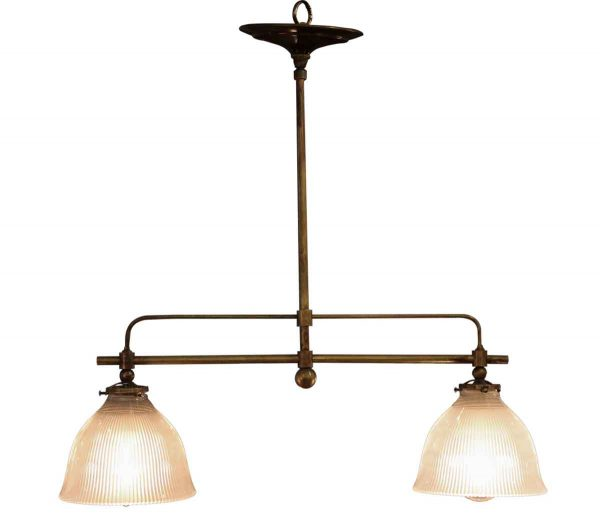 Down Lights - Double Holophane Light Fixture with Custom Brass Fitter
