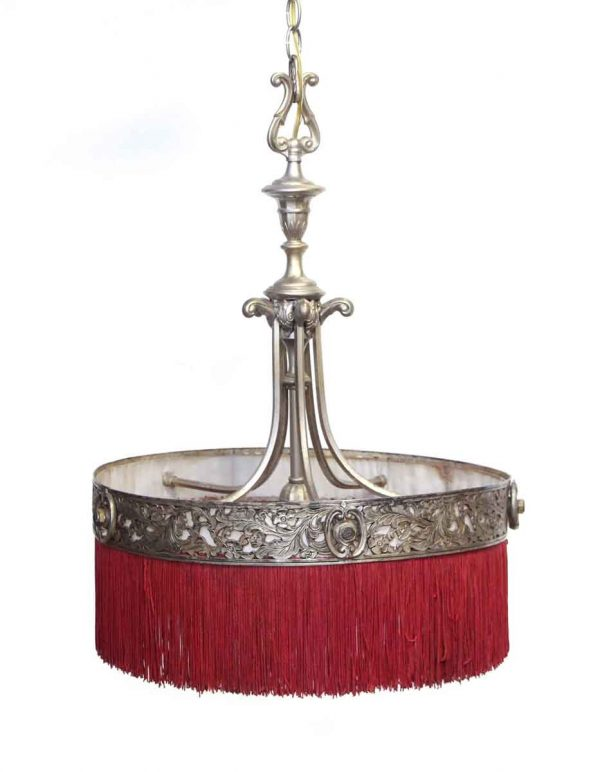 Down Lights - Restored Red Fringed Aluminum & Brass Chandelier