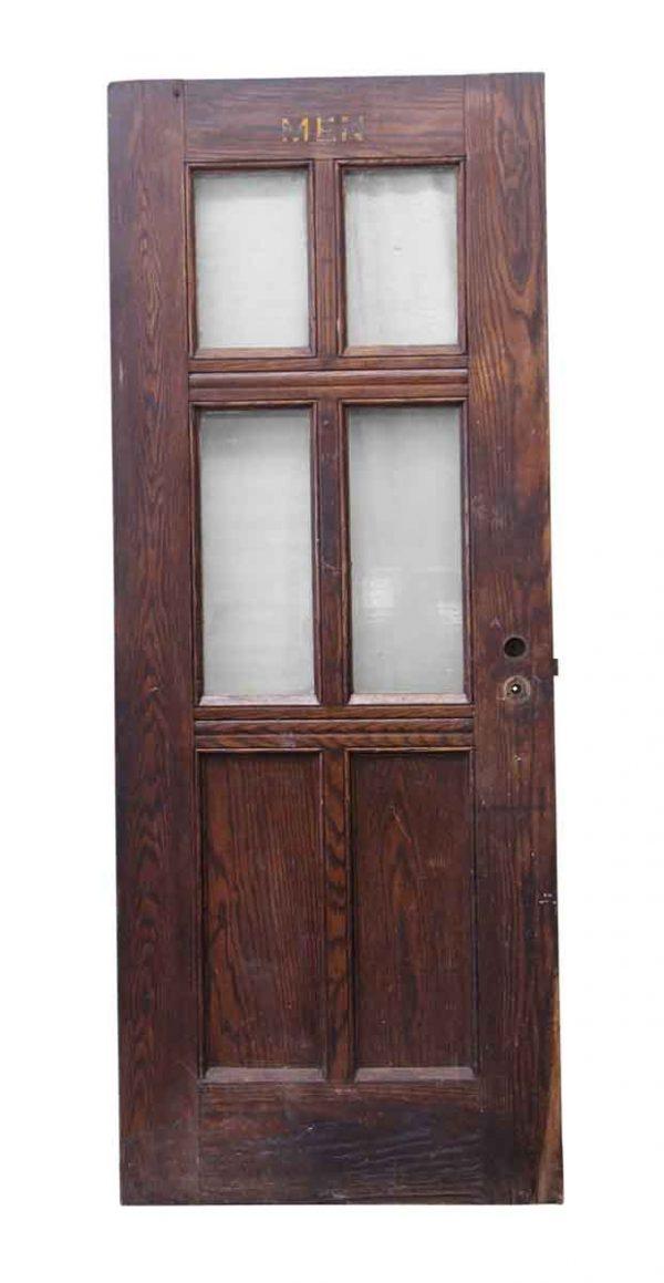 Entry Doors - Salvaged Oak Wood Bathroom Door with 4 Glass Panes