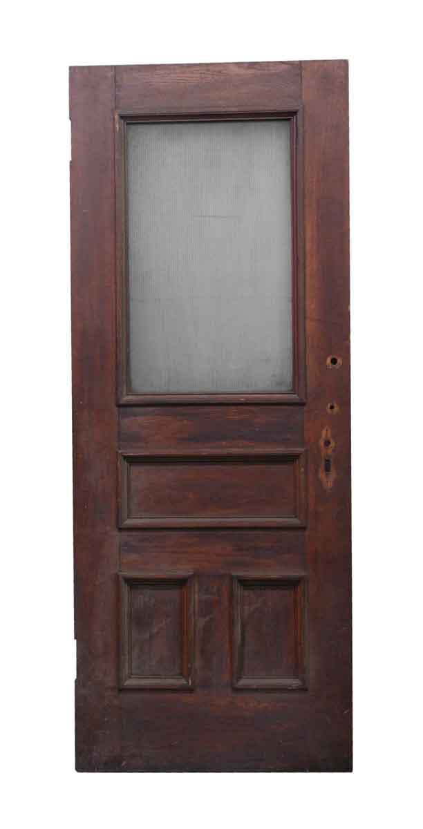 finest selection f7270 453e9 Antique Wooden Entry Door with Ribbed Glass 86.5 x 34