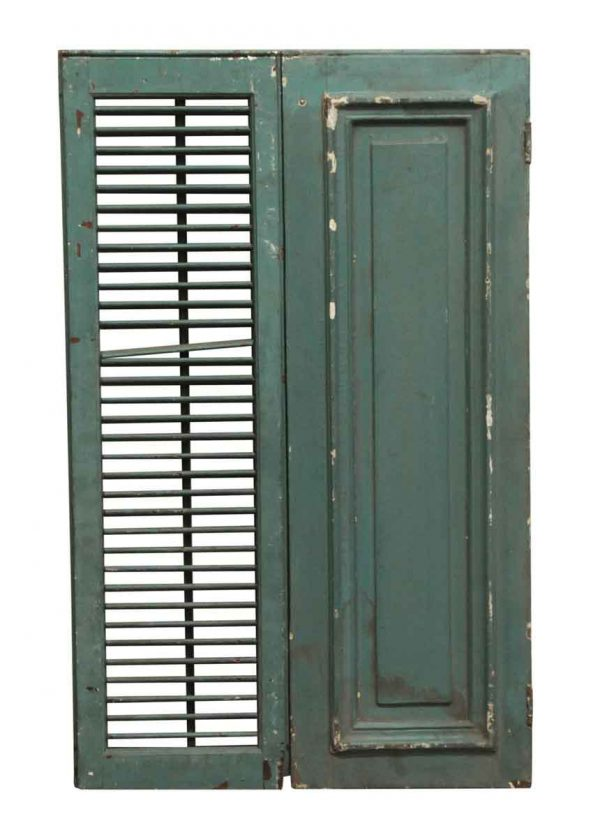 Exterior Materials - Green Painted Vintage Wooden Shutters