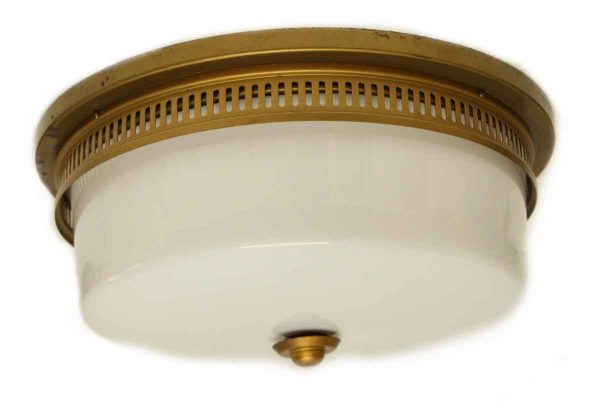 Flush & Semi Flush Mounts - Large Flush Mount Light Fixture with Milk Glass Globe