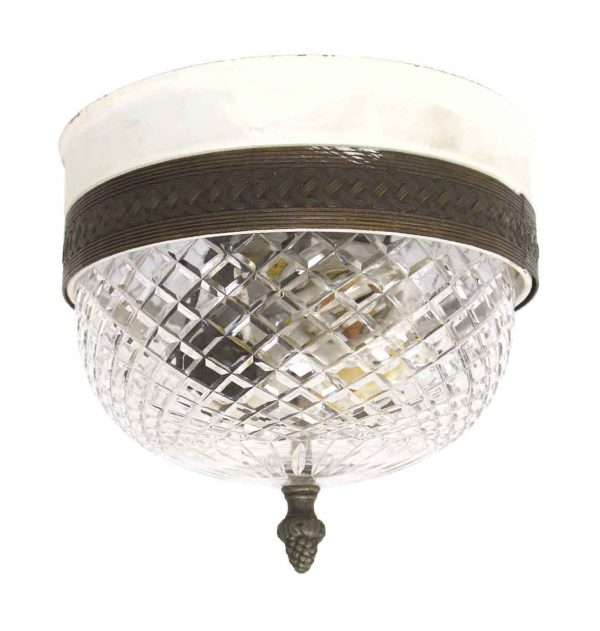 Flush & Semi Flush Mounts - Waldorf Cut Crystal & Brass Flush Mount Light
