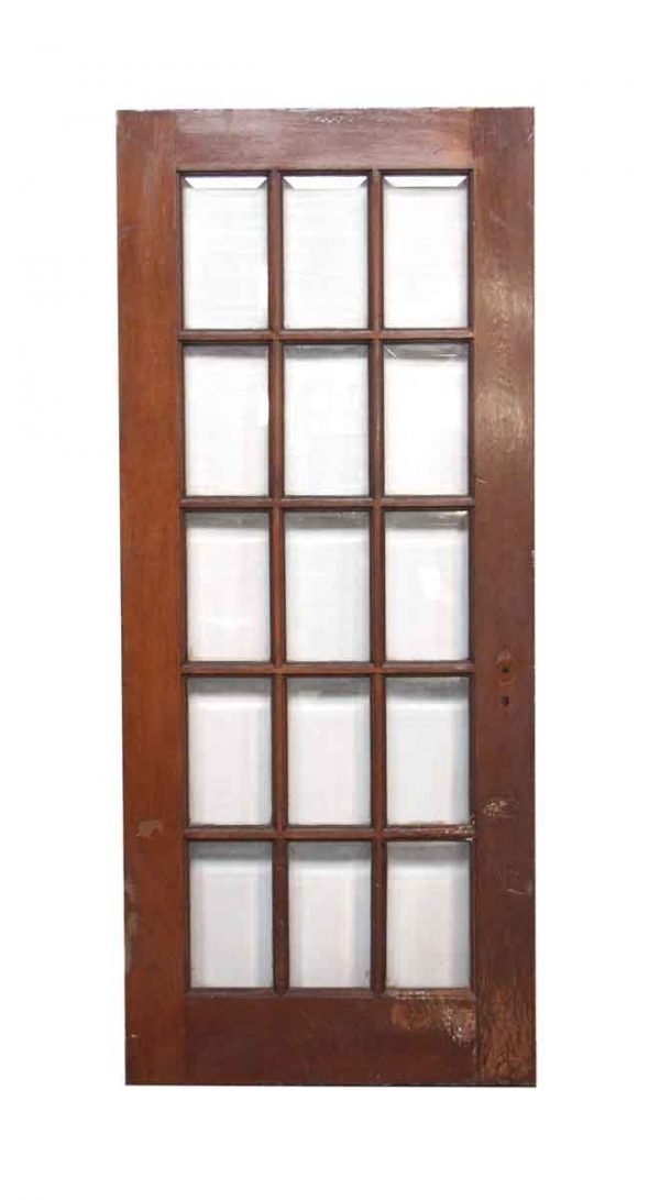 French Doors - Beveled Glass Oak French Door with 15 Lites