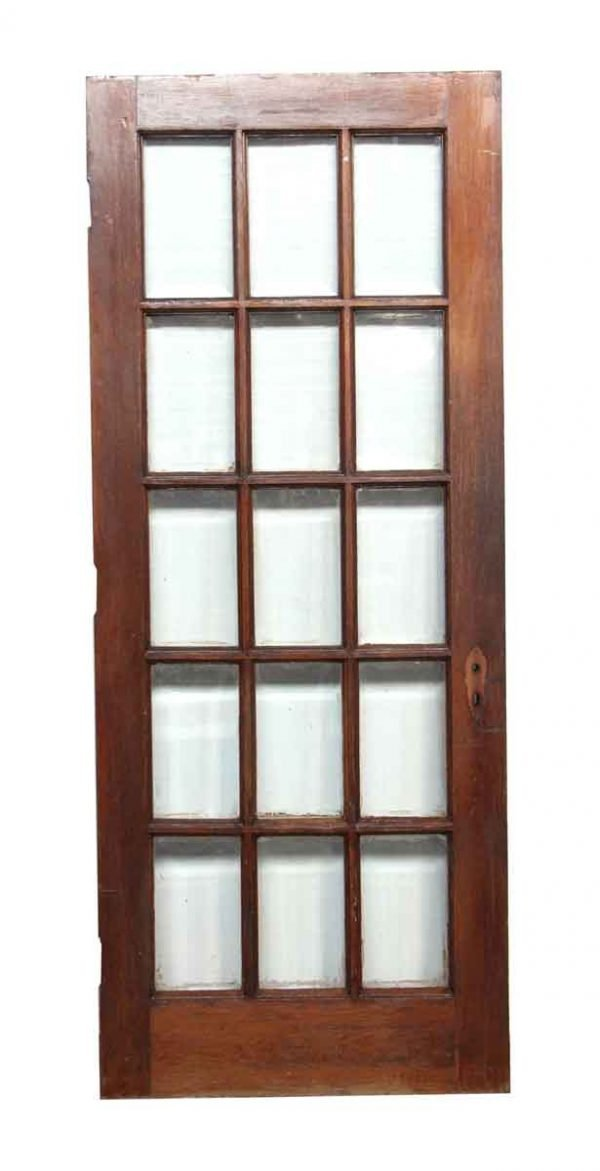 French Doors - Oak Door with 15 Beveled Glass Panes