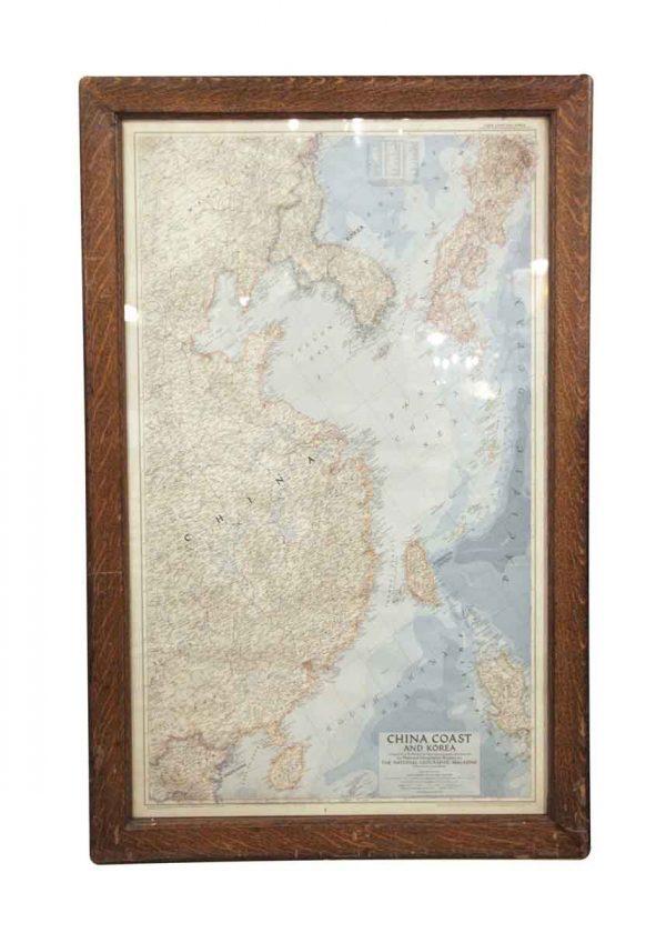 Globes & Maps - Oak Framed China Coast & Korea Map