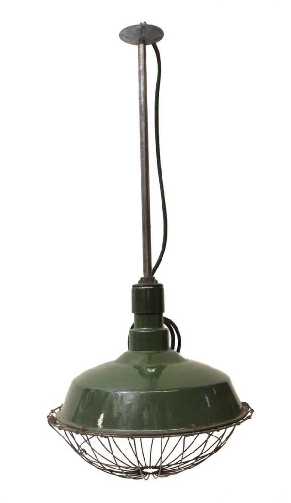 Industrial & Commercial - Industrial Green Caged Pendant Light
