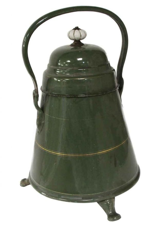 Kitchen - Green Metal Pot with Handle