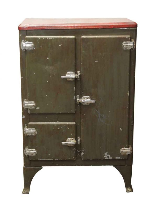 Kitchen - Green & Red Painted Metal Ice Box