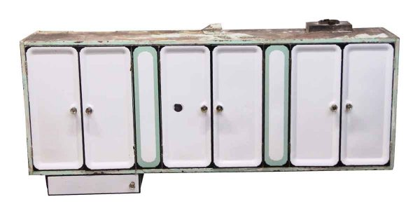 Kitchen - Green & White Metal & Enamel Wall Cabinet Unit