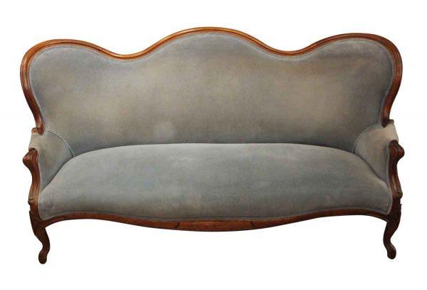 Living Room - Antique Blue Sofa with Carved Wood Frame